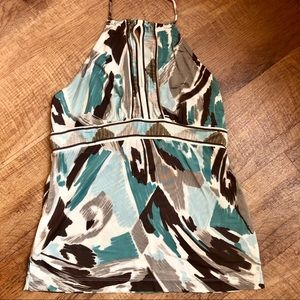 Teal and chocolate brown halter top